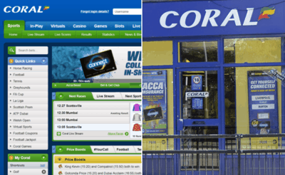 Comparison of Coral Online Website & Betting Shop