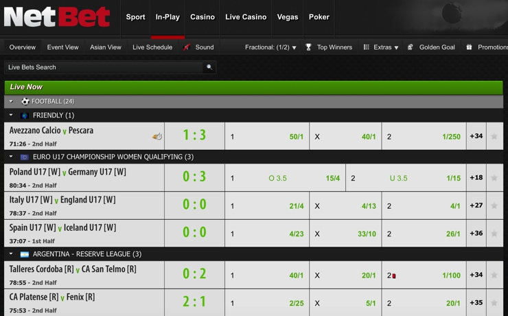 NetBet Features Screenshot