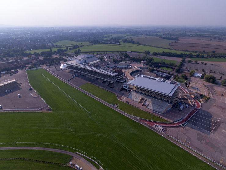 Aerial View of Cheltenham Racecourse Grandstands