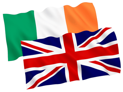 Great Britain and Ireland Flags Overlapping