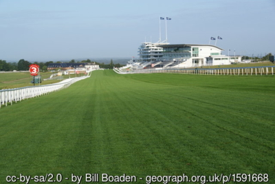 Epsom Racecourse Straight and Grandstands
