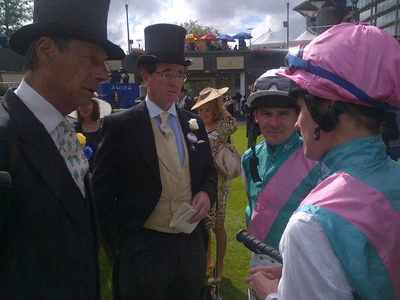 Henry Cecil and Lord Grimthorpe Talking to Jockeys