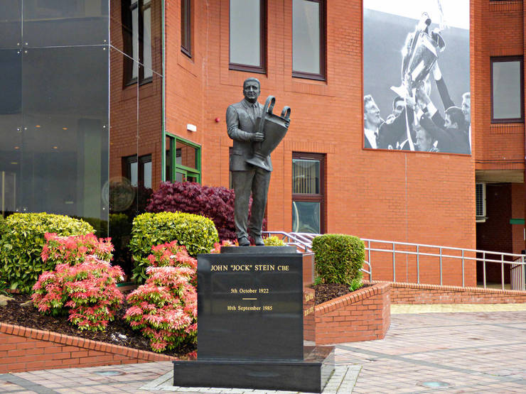 Statue of Jock Stein Holding European Cup at Celtic Park