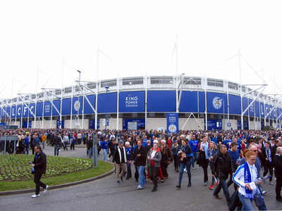 Football Fans Outside Leicester City's King Power Stadium