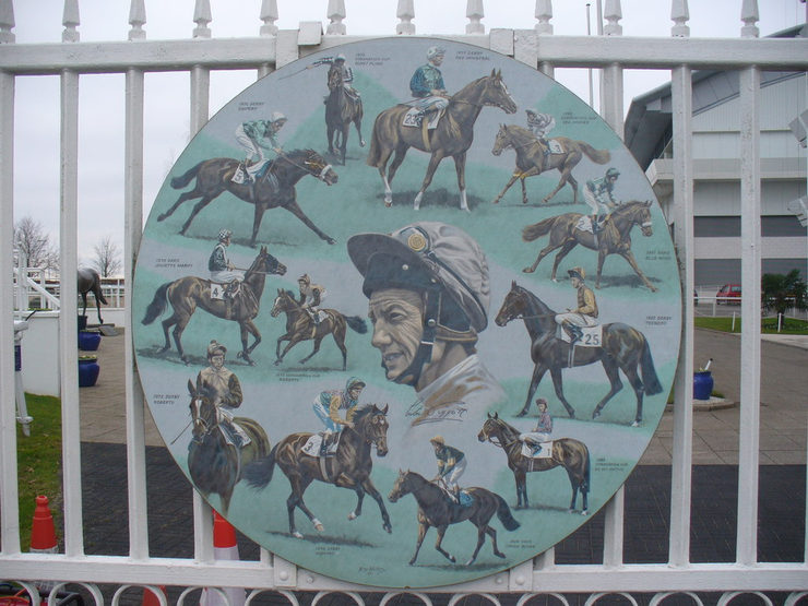 Plaque on Gates at Epsom Showing Lester Piggott's Famous Rides