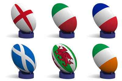 Flags of the Six Nations Teams on Rugby Balls