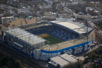 Aerial View of Chelsea's Stamford Bridge Football Stadium