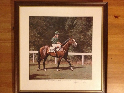 Painting of Shergar and Walter Swinburn by Roy Millar