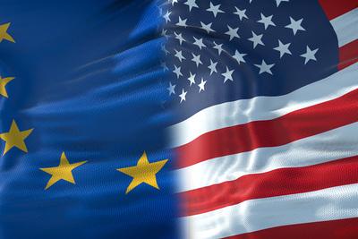 European Union and USA Half Flags