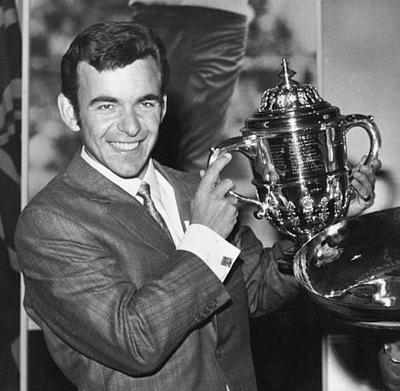 Golfer Tony Jacklin with 1969 British Sportsman of the Year Trophy
