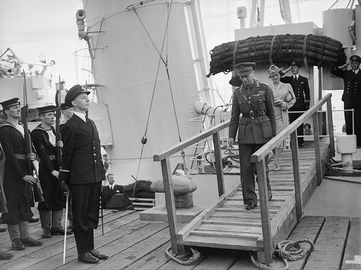 King George VI and Queen Elizabeth Disembarking HMS Bicester in 1942
