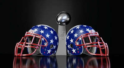American Football Trophy and Helmets