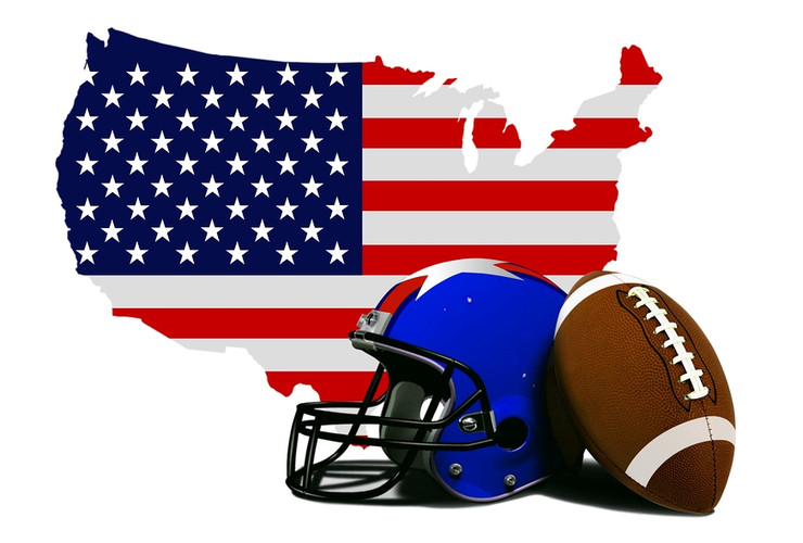 US Flag with American Football Helmet and Ball