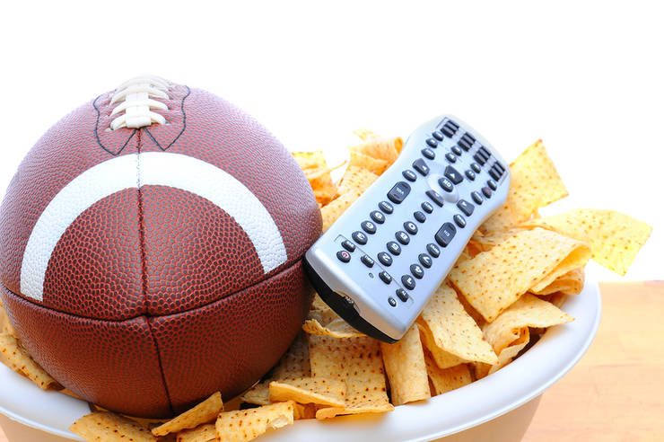 American Football with TV Remote and Chips