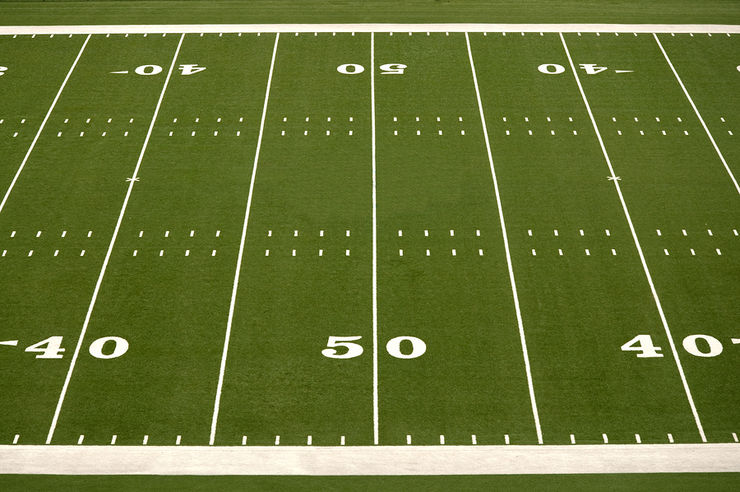 Empty American Football Field Half Way Line