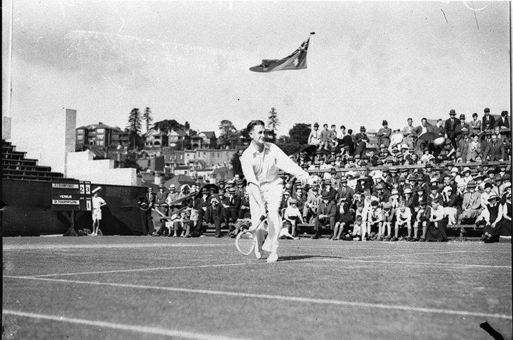 Jack Crawford Playing Tennis Match
