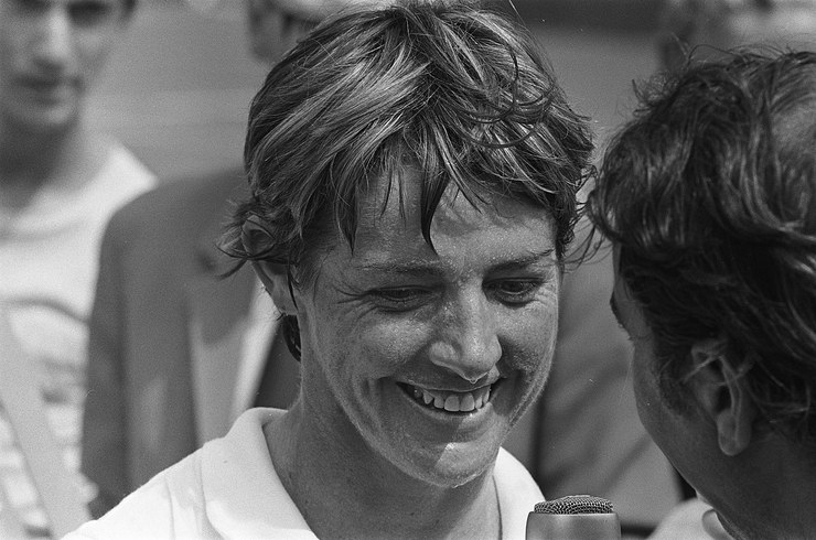 Margaret Court Being Interviewed After a Tennis Match