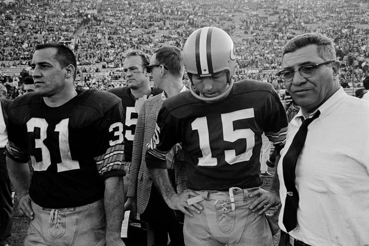 Vince Lombardi With Jim Taylor and Bart Starr at the Super Bowl