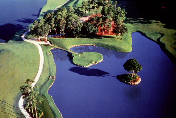 The famous 17th hole at TPC golf course