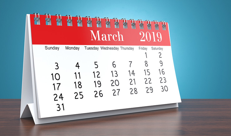 March 2019 on Desktop Calendar