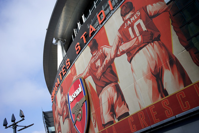 Arsenal's Emirates Stadium and Crest