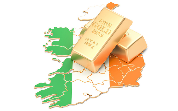 Gold Bars on a Map of Ireland