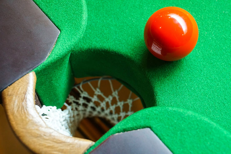 Red Snooker Ball Near Centre Pocket