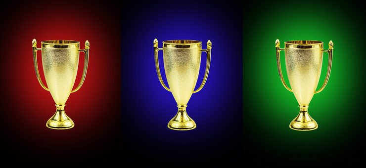 Three Golden Trophies with Different Coloured Backgrounds