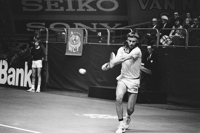 Bjorn Borg Playing a Double Handed Backhand Shot