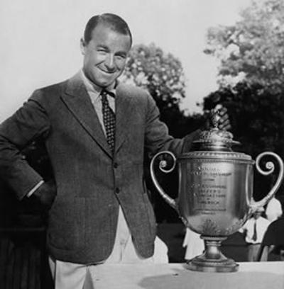Golfer Gene Sarazen with PGA Championship Trophy