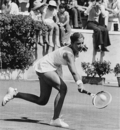 Chris Evert Playing a Backhand Shot
