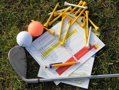 Golf Scorecard, Tees, Balls and Club
