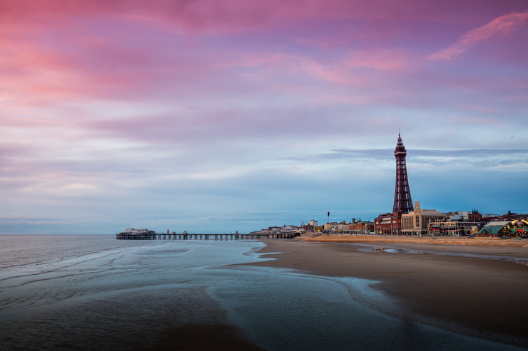 Blackpool Tower, Beach and Promenade at Sunset