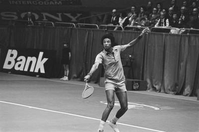 Tennis Player Arthur Ashe Playing Match