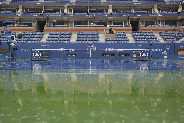 Arthur Ashe Tennis Court During Rainstorm