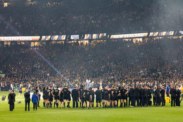 New Zealand Awaiting 2015 Rugby World Cup Trophy Presentation