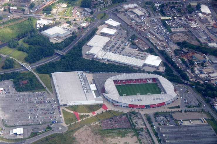 Aerial View of St Helens' Langtree Park Stadium