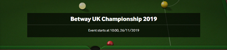 Betway UK Championship Snooker Screenshot