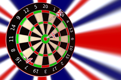 Dartboard with UK Flag Background