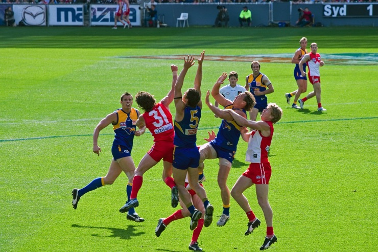 The Sydney Swans vs the West Coast Eagles at the 2005 AFL Grand Final