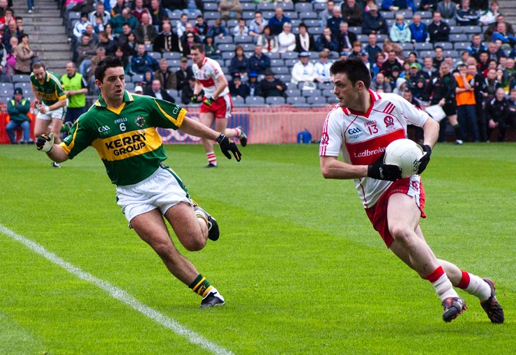 Aidan O'Mahony & Derry's Eoin Bradley at the National League Final