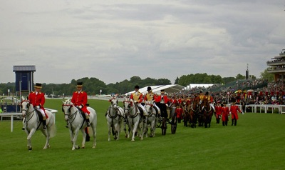 The Royal Carriages bringing the Queen at Royal Ascot