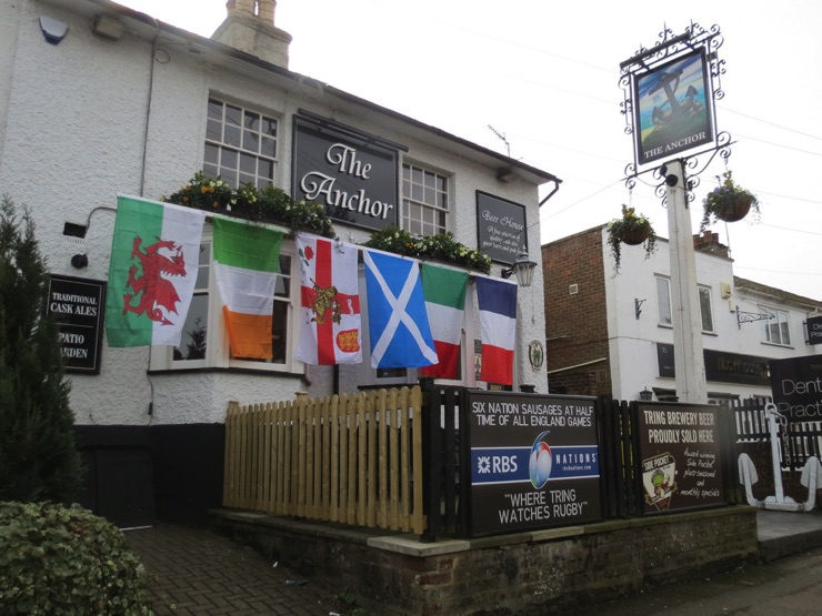 A UK pub showing the Rugby Six Nations