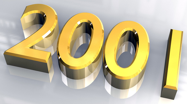 2001 Written in 3D Gold Numbers