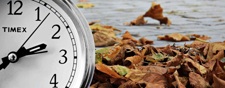 Clock and Autumn Leaves