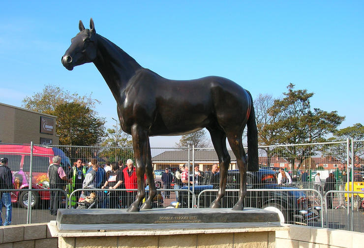 Statue of Racehorse Double Trigger at Doncaster Racecourse