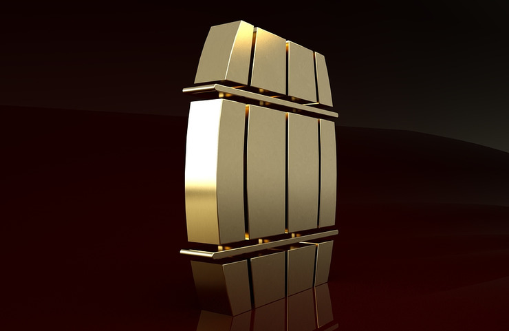 Gold Wooden Barrel Icon