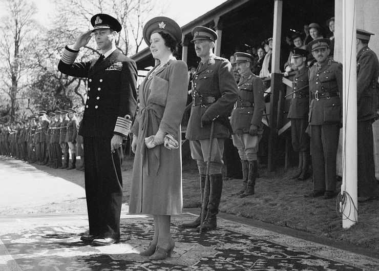 King George VI and Queen Elizabeth at a Military Base During World War II