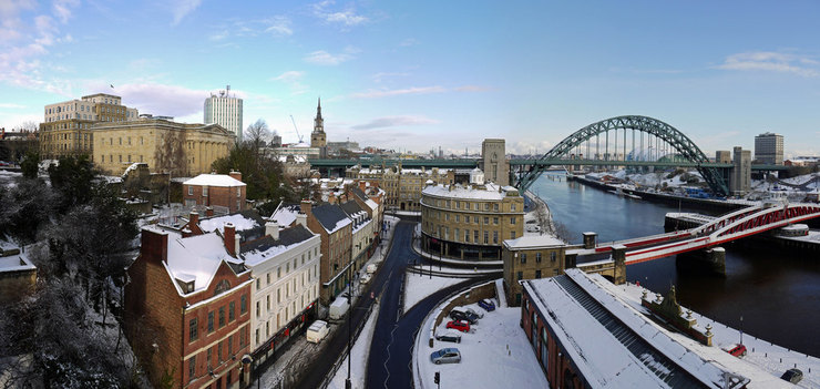 Panorama of Newcastle and the Tyne Bridge After Snowfall