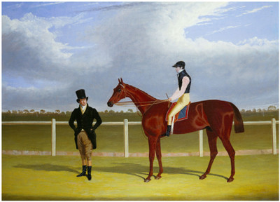 Painting of 1829 St Leger Winner Rowton with John and Bill Scott
